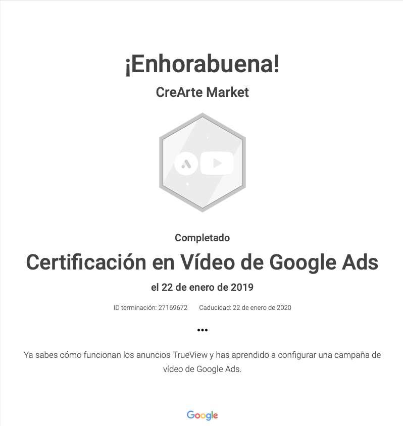 certificacion google video ads